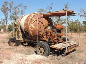 Cement mixer re-cycled as an opal washing machne