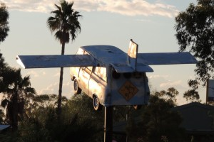 "The splendid flying campervan ""Emus on a Plane"" at the Outback Resort"