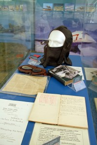 De Havilland memorabilia including his 1912 flying helmet and Royal Aero Club Certificate.