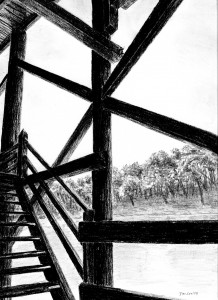 A drawing of the Wharf on the Darling River at Bourke, NSW