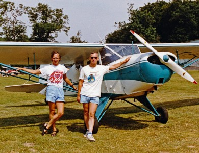 Ron and Jim with 1942 Taylorcraft Plus D Special at Popham in August 1989