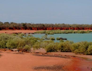 Red cliffs across Roebuck Bay